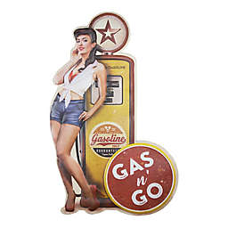Gas n Go Pinup 12-Inch x 19.5-Inch Embossed Metal Wall Decor