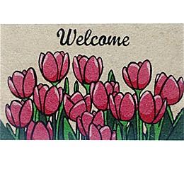 """First Concept Inc. Tulip Welcome 18"""" x 30"""" Multicolor Coir Door Mat"""