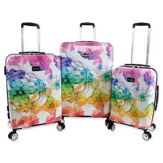 439aa5df6 Bebe Megan 3-Piece Hardside Spinner Luggage Set in Rainbow | Bed ...