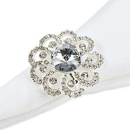 Saro Lifestyle Jeweled Floral Napkin Rings (Set of 4)