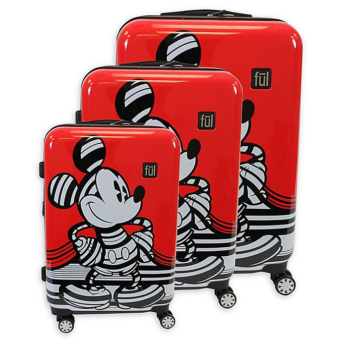 Alternate image 1 for ful® Disney® 3-Piece Striped Mickey Mouse Hard Sided Luggage Set in Red