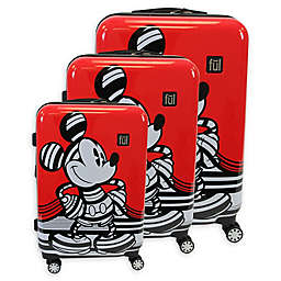 ful® Disney® 3-Piece Striped Mickey Mouse Hard Sided Luggage Set in Red