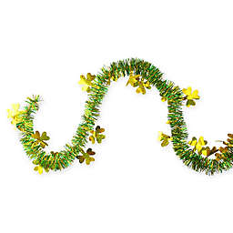 Northlight 25-Foot Holographic Shamrock Tinsel St. Patrick's Day Garland in Gold/Green