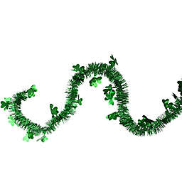 Northlight 25-Foot Holographic Tinsel Shamrock St. Patrick's Day Garland in Green