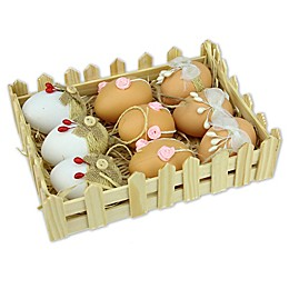 Northlight Decorative Easter Eggs in White/Natural (Set of 9)