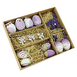 Northlight Easter Decorative Ornaments Box in Purple (Set of 14)