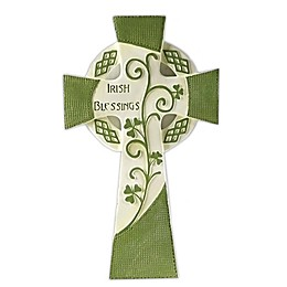 Roman Irish Blessings Wall Cross in Green