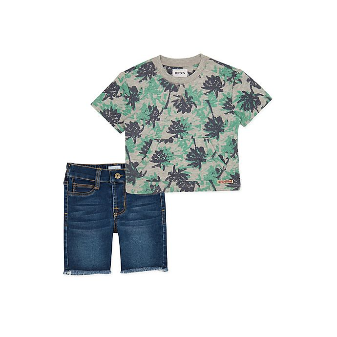 Alternate image 1 for Hudson Kids 2-Piece Cactus Shorts Set in Grey
