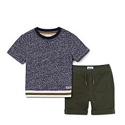 Hudson Kids 2-Piece Twill Shorts Set in Blue/Olive