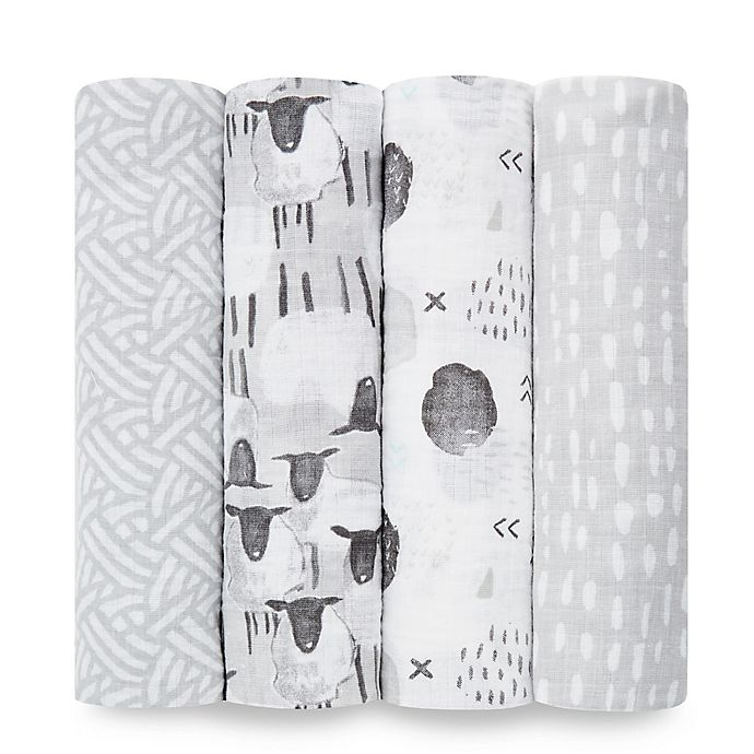 Alternate image 1 for aden® by aden + anais® 4-Pack Cotton Muslin Swaddle Blankets in Pasture