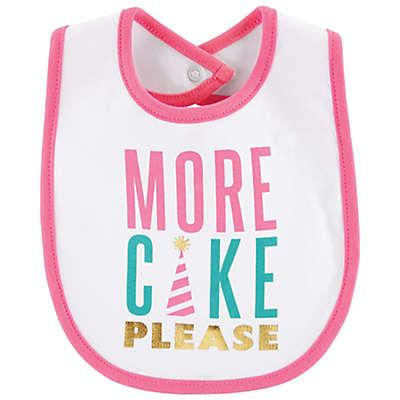 "carter's® ""More Cake Please"" Bib in White/Pink"
