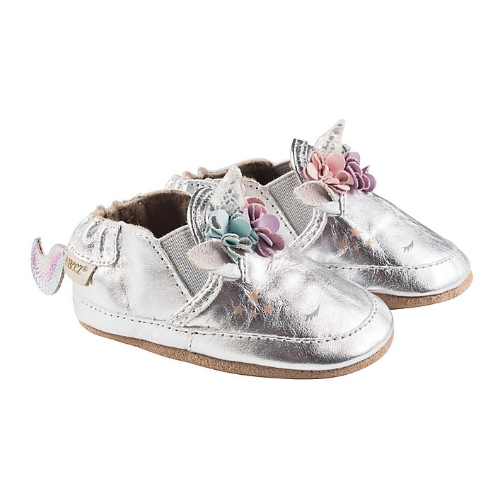 Alternate image 1 for Robeez® Girls' Uma Unicorn Soft Sole Shoes in Silver