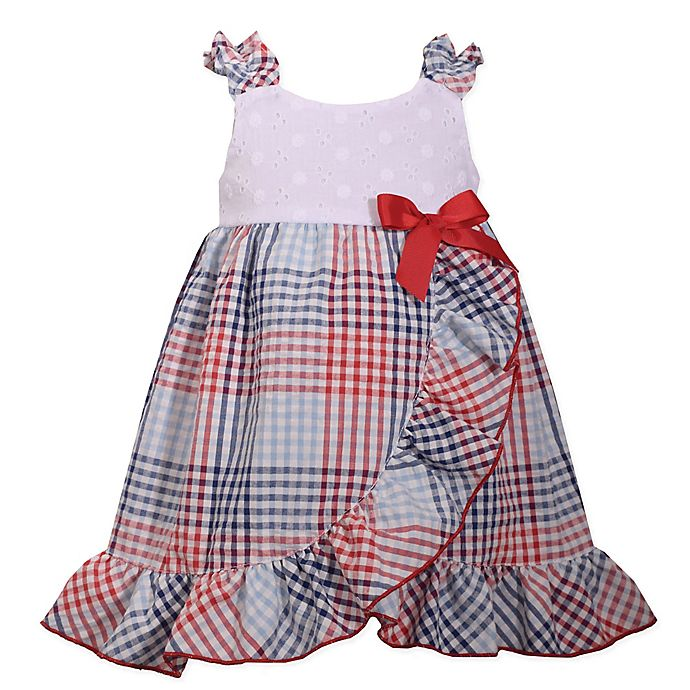 Alternate image 1 for Bonnie Baby Plaid Seersucker Dress in White