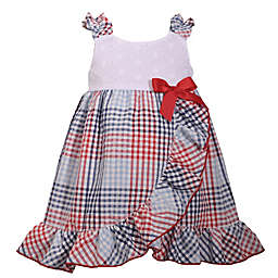 Bonnie Baby Plaid Seersucker Dress in White