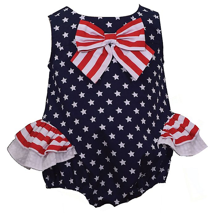 Alternate image 1 for Bonnie Baby Star with Stripes Bow Dress in Navy