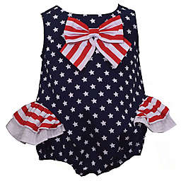 Bonnie Baby Star with Stripes Bow Dress in Navy