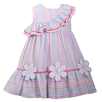 Bonnie Baby Flower Ruffle Seersucker Multicolor Dress