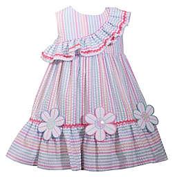 Bonnie Baby Flower Ruffle Seersucker Multicolor Dress