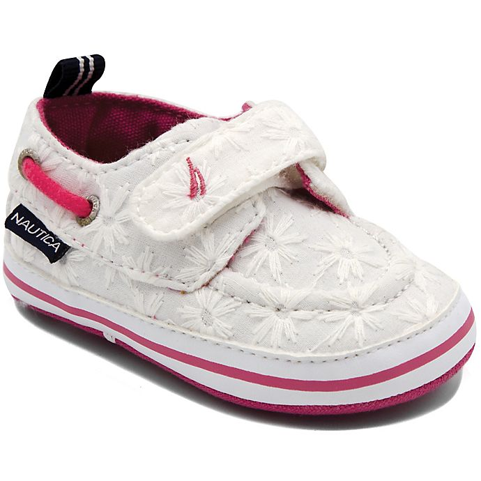 Alternate image 1 for Nautica® Size 6-9M Tiny River Eyelet Boat Shoe in White/Pink