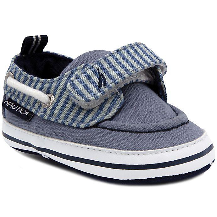 Alternate image 1 for Nautica® Tiny River Stripe Boat Shoes in Denim
