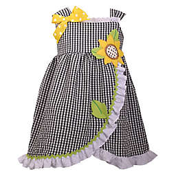 Bonnie Baby Sunflower Seersucker Dress in Black/White