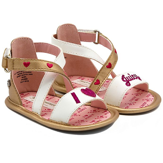 Alternate image 1 for Juicy Couture® X-Band Ankle Strap Sandals in Gold/White
