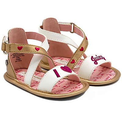 Juicy Couture® X-Band Ankle Strap Sandals in Gold/White