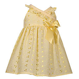 Bonnie Baby Eyelet Dress with Bow in Yellow