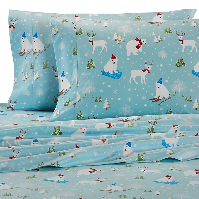 Alternate image 1 for Micro Flannel® Printed Fun in the Snow Sheet Set