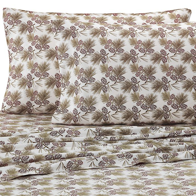 Alternate image 1 for Micro Flannel® Printed Pinecone Sheet Set