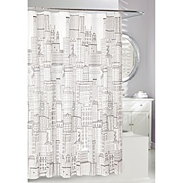 City Scape Shower Curtain in Frost