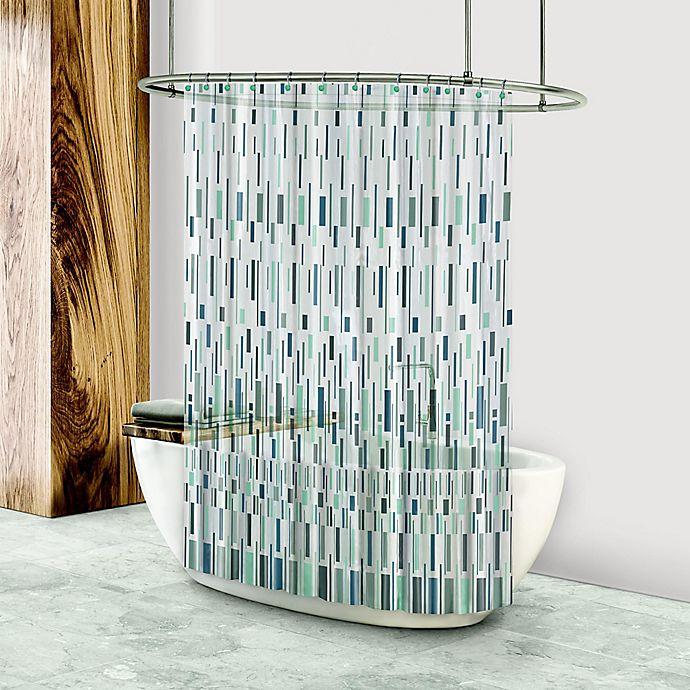 Alternate image 1 for Bars PEVA Shower Curtain in Navy/Neutral