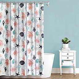 Sea Trove PEVA Shower Curtain in Coral