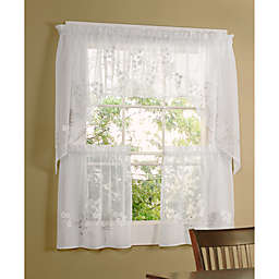 Commonwealth Home Fashions Hydrangea Kitchen Window Tier Pair