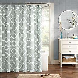 Madison Park Essentials Merritt Printed Fretwork Shower Curtain in Grey