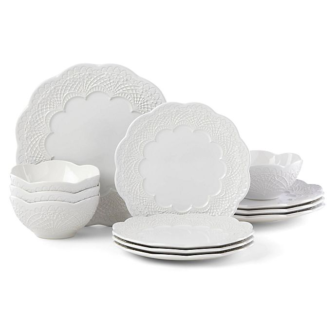 Alternate image 1 for Lenox® Chelse Muse Scallop White™ 12-Piece Dinnerware Set