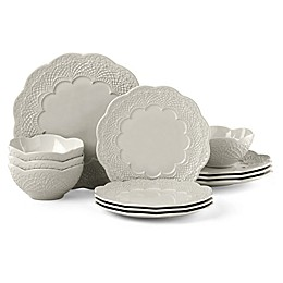 Lenox® Chelse Muse Scallop Grey™ 12-Piece Dinnerware Set