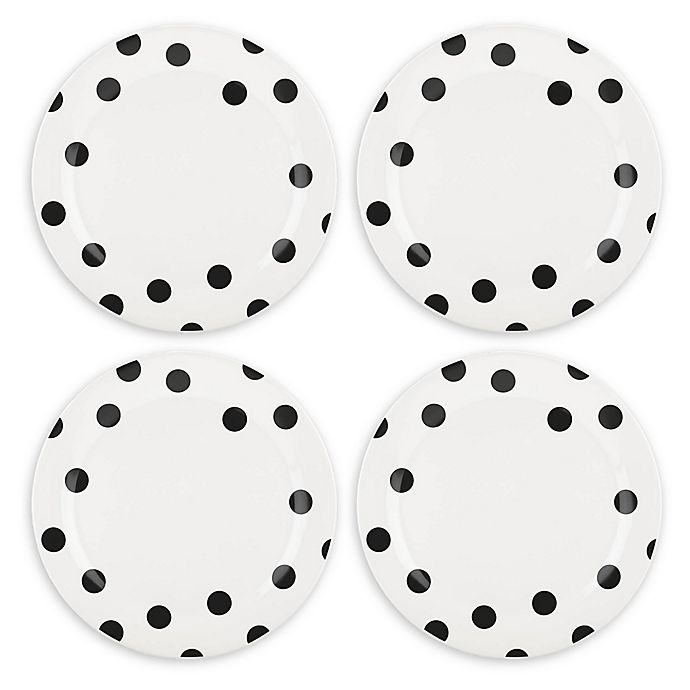 Alternate image 1 for kate spade new york All in Good Taste Deco Dot™ Dinner Plates in Black (Set of 4)