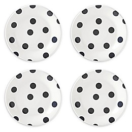 kate spade new york All in Good Taste Deco Dot™ Accent Plates in Black (Set of 4)