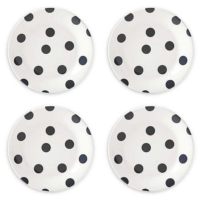 Alternate image 1 for kate spade new york All in Good Taste Deco Dot™ Accent Plates in Black (Set of 4)