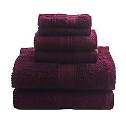 Signature 6-Piece Bath Towel Set in Wine
