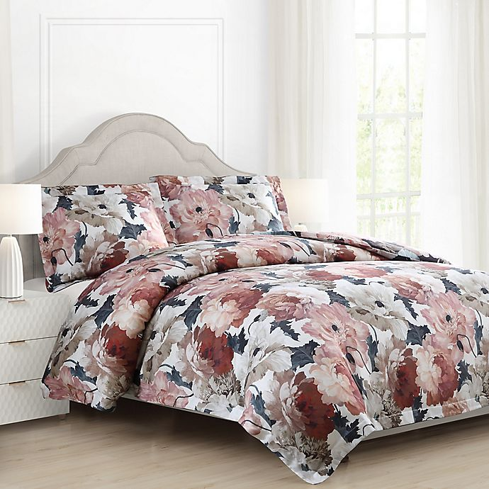 Auberne Floral Reversible Comforter Set In Black Bed Bath And Beyond Canada