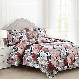 Auberne Floral Reversible Comforter Set in Black