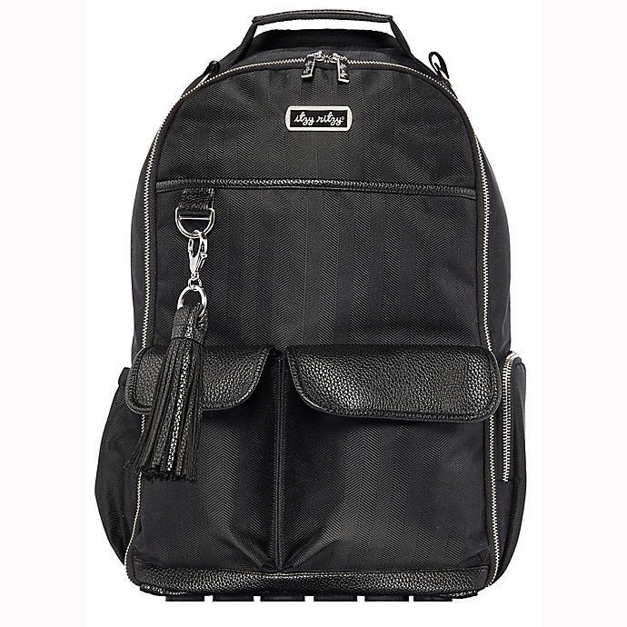 Alternate image 1 for Itzy Ritzy® Boss Diaper Bag Backpack in Black Herringbone