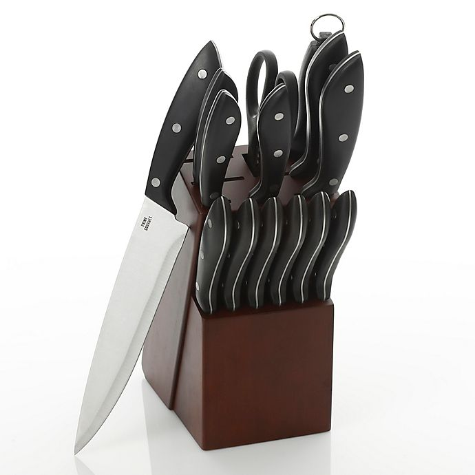 Alternate image 1 for Prime Gourmet 15-Piece Knife Block Set in Brown
