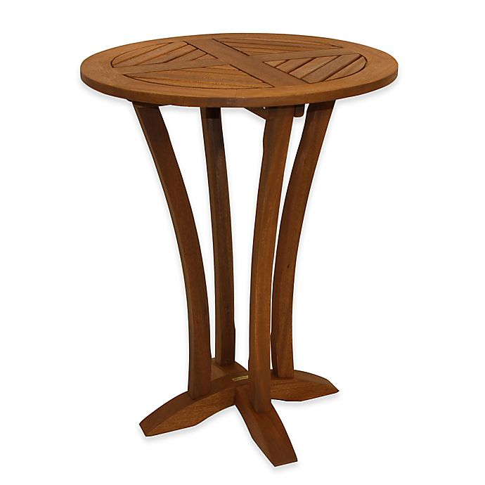 Alternate image 1 for Outdoor Interiors® Eucalyptus Round Bar Table in Brown Umber