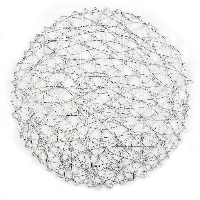 Alternate image 1 for Design Imports Woven Round Placemats in Silver (Set of 6)
