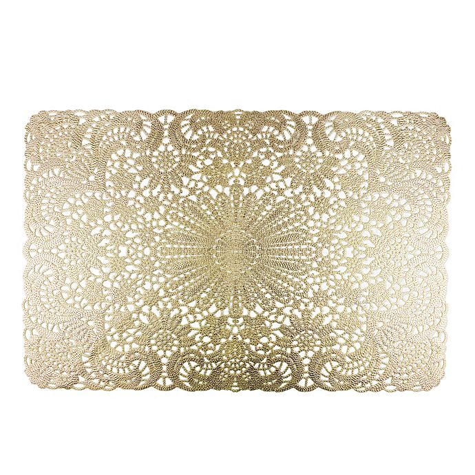 Alternate image 1 for Design Imports Lace Placemats in Golden (Set of 6)