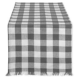 Design Imports Check Fringed Table Runner