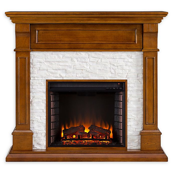 Alternate image 1 for Southern Enterprises Jayben Media Faux Stone Fireplace in Dark Sienna